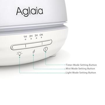 Aglaia Aroma Diffuser 300ml, Glasabdeckung Ultraschall Luftbefeuchter mit 7 Farbwechsel, 4 Timer-Einstellungen und Automatische Abschaltung für Büro Yogaraum Spa-Center -