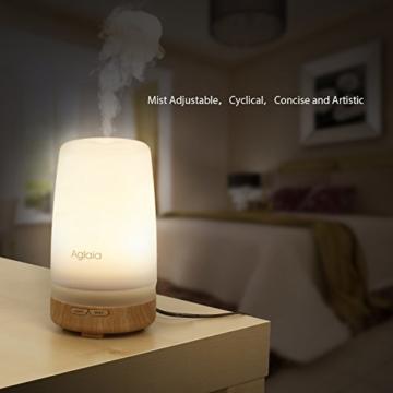 Aglaia Aroma Diffuser Ultraschall Luftbefeuchter 100ml mit 7 Wärmes Weiß Duftzerstäuber Holz-Basis für Beauty-Salon, Spa, Yoga, Schlafzimmer, Wohnzimmer, Konferenzraum -