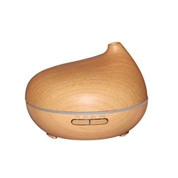 Aroma Diffuser, Euph 300ml Ultraschall Nebel Luftbefeuchter Raumbefeuchter LED Farbwechsel für Yoga Kinderzimmer Schlafzimmer Krankenhaus Toilette Büro usw. (Hellbraun) -