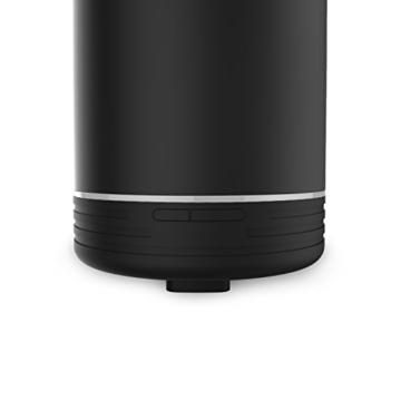 Aroma Diffuser, MaxTronic 120ML Keramisch ätherisches Öl Diffusor Elektro Ultraschall Luftbefeuchter mit kühlem Nebel Aromatherapie mit Zwei farbenwechselnde LED Licht, automatisch Zeitgeber und Wasserlos automatische Abschaltung Luftreiniger für Heim, Schlafzimmer, Babyzimmer, Spa, Yoga, Büro, Schwarz -