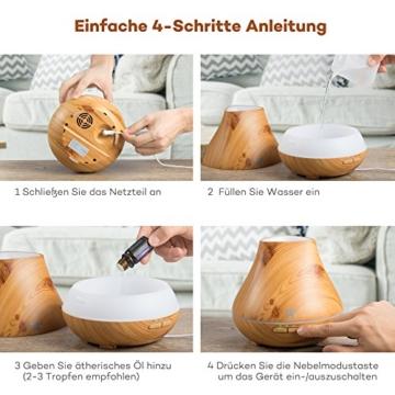 Aroma Diffuser TaoTronics 400ml Luftbefeuchter ätherisches Öl Diffusor Duftzerstäuber für Aromatherapie, einstellbarer Nebelausstoß, 7 Farbstufen, Niedrigwasserschutz -