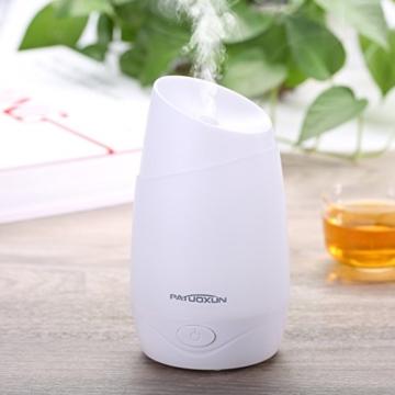 Patuoxun Ätherisches 100ml Öl-Diffusor Luftbefeuchter, 100ml Aroma Essential Oil Luftbefeuchter mit kühlem Nebel Aromatherapie Diffusor Luft Mist Purifier mit Farblicht-LED, Wasserlos automatische Abschaltfunktion für Schlafzimmer, Büro, zu Hause -