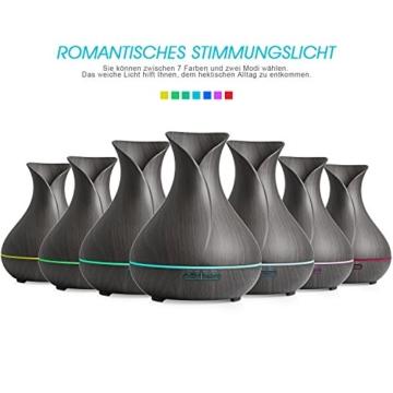 REIDEA Aroma Diffuser 400ml Leise Kalten Nebel Luftbefeuchter Oil Düfte Humidifier Holzmaserung LED mit 7 Farben, Timer und Abschaltautomatik -