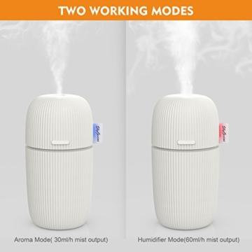 Aroma Diffusor, 110ml Tragbar ätherische öl Duft Diffuser, Mini Ultraschall Luftbefeuchter Aromatherapie Diffusor für Heim, Schlafzimmer, Babyzimmer, Spa, Yoga, Büro -