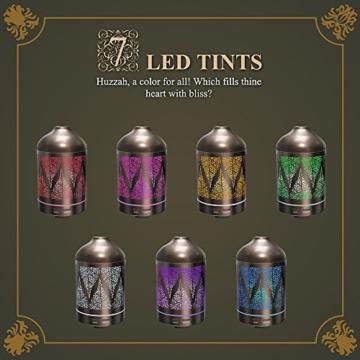 Metallgehäuse Aroma Diffuser TaoTronics 100ml Diffuser Duale Nebeleinstellung Renaissance Design elektrische Duftlampe mit 7 LED-Farben -